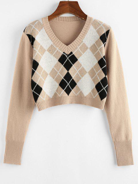 latest ZAFUL Argyle V Neck Crop Sweater - TAN S Mobile