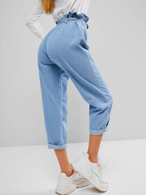 Jeans Flacos con Botones - Azul S Mobile