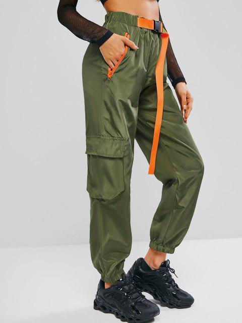 chic Boyish Push-buckled Waist Zippered Pockets Cargo Pants - DEEP GREEN S Mobile