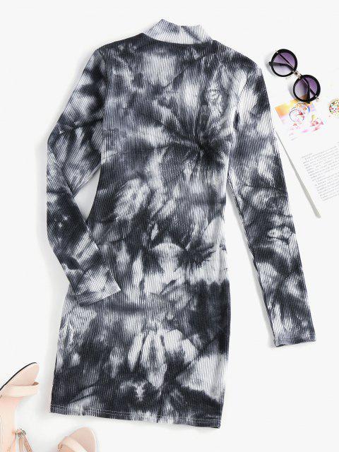 shop ZAFUL Tie Dye Ribbed High Neck Bodycon Dress - MULTI-A M Mobile