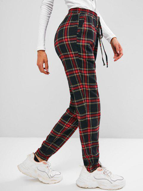 unique ZAFUL Plaid Pocket Bowknot Pull-on Pants - BLACK XL Mobile