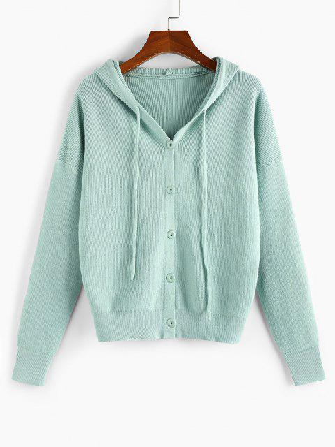 trendy Hooded Drop Shoulder Single Breasted Cardigan - LIGHT GREEN S Mobile