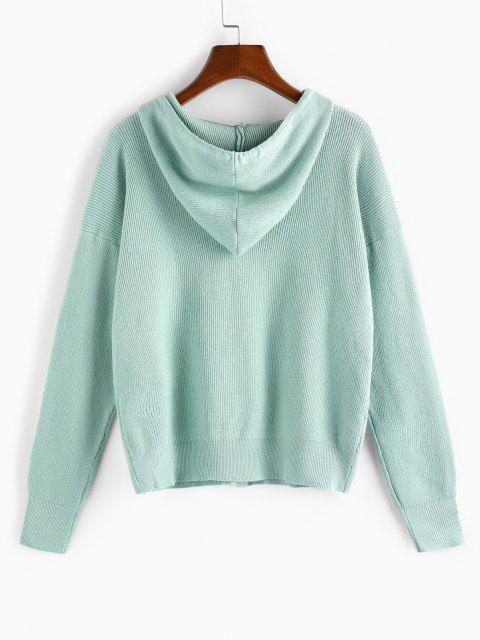 shop Hooded Drop Shoulder Single Breasted Cardigan - LIGHT GREEN M Mobile