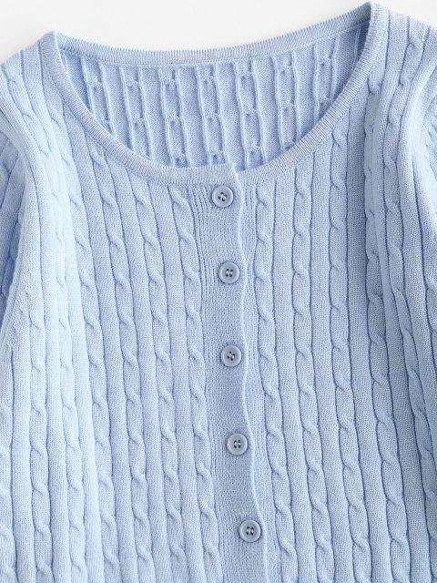 shops Cable Knit Cropped Cardigan - LIGHT BLUE M Mobile