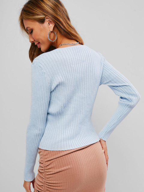buy ZAFUL Rib Knit Loop Button Cropped Cardigan - LIGHT BLUE M Mobile