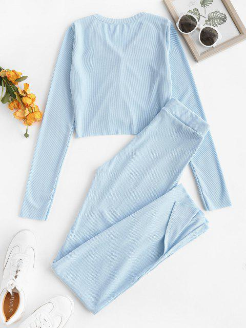 womens Button Up Ribbed Slit Two Piece Set - LIGHT BLUE L Mobile