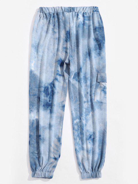 Krawattenfärbende Druck Elastische Taille Beam Füße Hose - Hellblau XL Mobile
