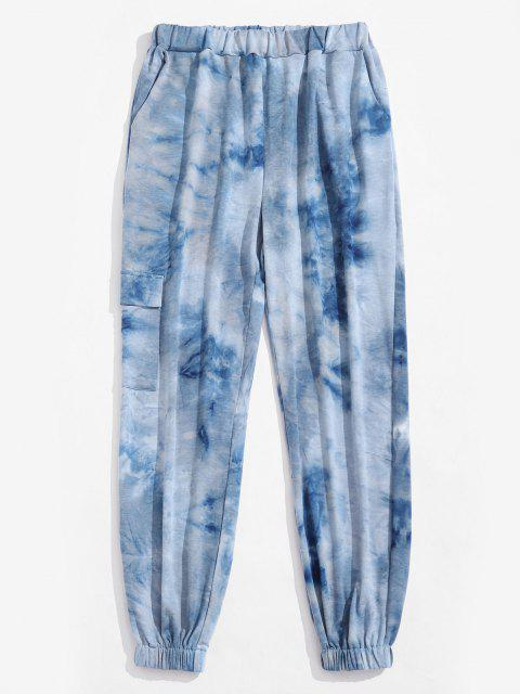 Calças de Cintura Elástica com Impressão Camuflada - Azul claro M Mobile
