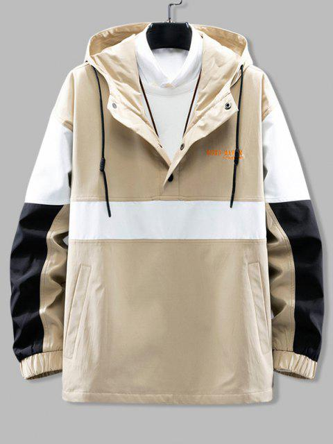 best Hooded Color Blocking Pullover Snap Button Jacket - LIGHT KHAKI 2XL Mobile