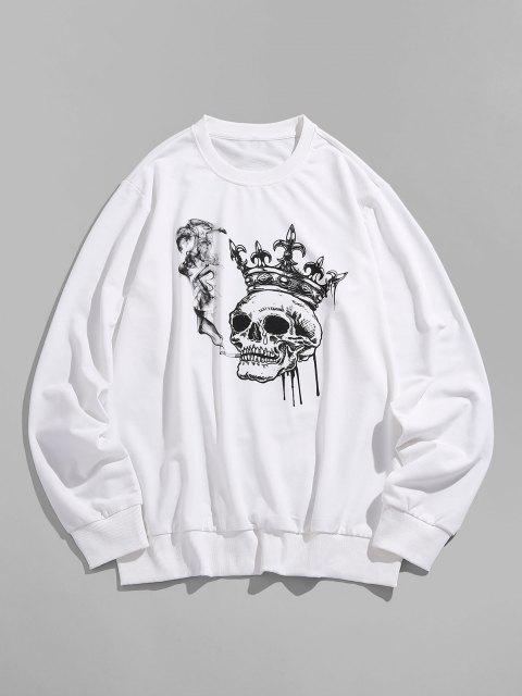 ladies ZAFUL Funny Smoking Skull Crown Print Sweatshirt - WHITE 2XL Mobile