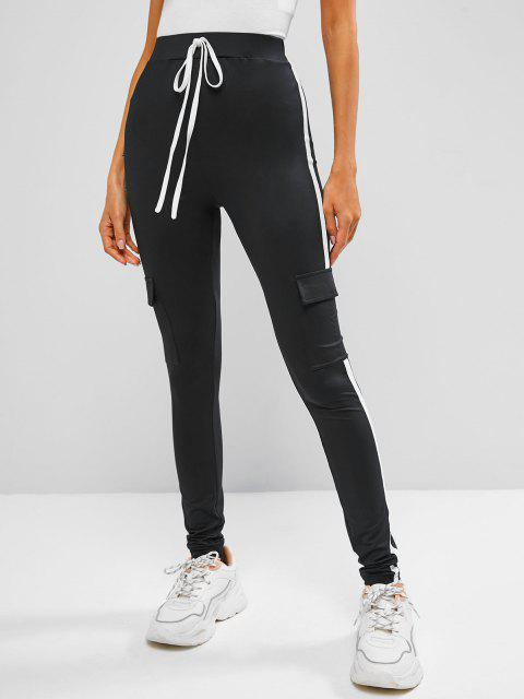 ZAFUL Leggings Delgados Laterales con Cinta de Bolsillo - Negro M Mobile