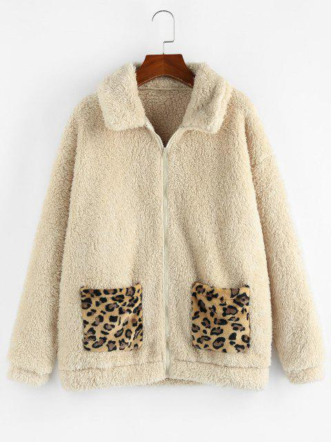 ZAFUL Leopard Pocket Zip Faux Fur Teddy Coat - مشمش XL Mobile