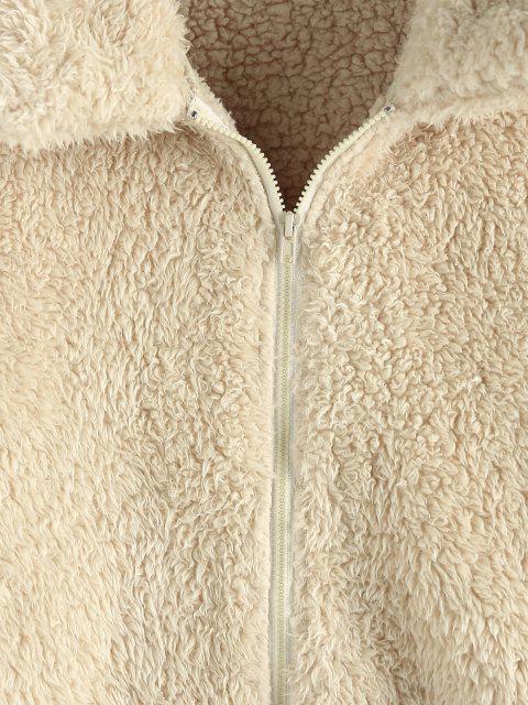 ZAFUL Leopard Taschen Reißverschluss Kunstpelz Teddy Mantel - Aprikose XL Mobile