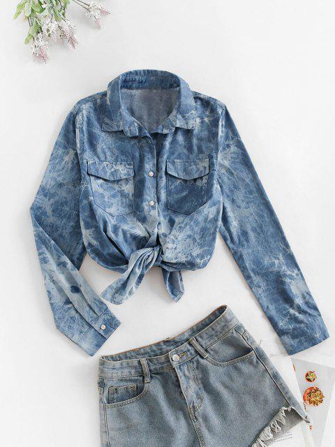 chic Flap Pockets Tie Dye Chambray Cargo Shirt - DENIM DARK BLUE M Mobile
