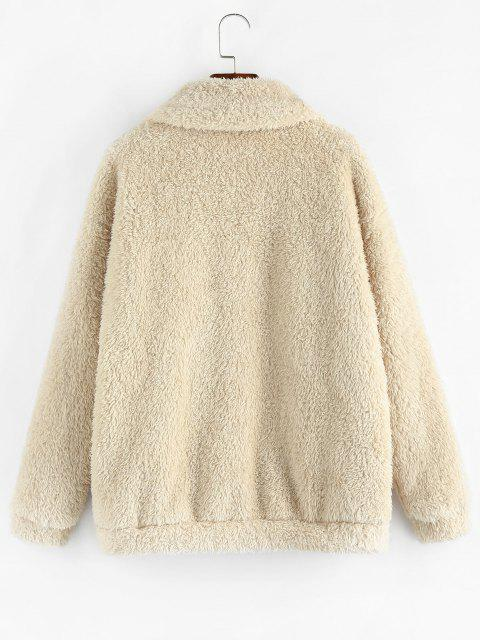 shops ZAFUL Leopard Pocket Zip Faux Fur Teddy Coat - APRICOT M Mobile