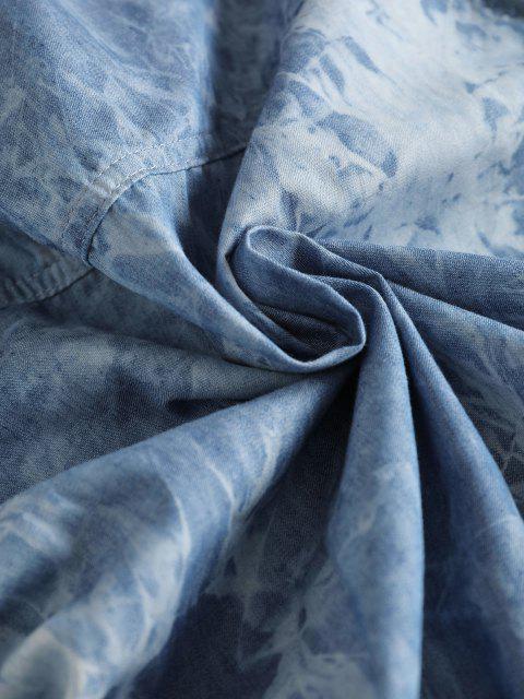 hot Flap Pockets Tie Dye Chambray Cargo Shirt - DENIM DARK BLUE S Mobile