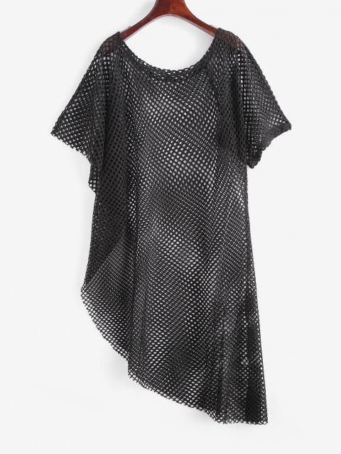 shops Openwork Uneven Hem Raw Cut Cover-up Dress - BLACK ONE SIZE Mobile