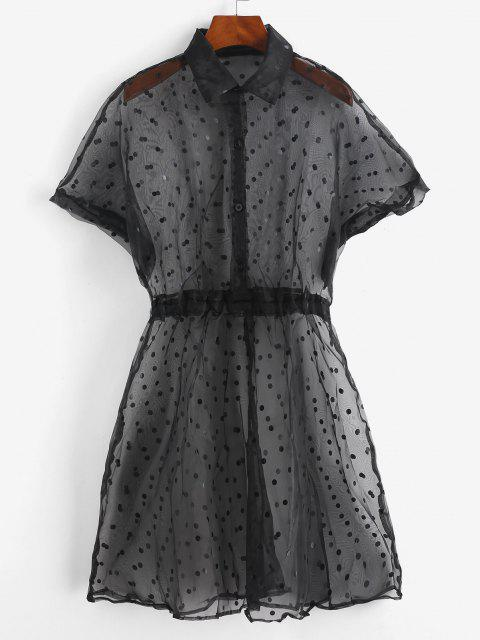 unique Organza Polka Dot Cover Up Dress - BLACK S Mobile