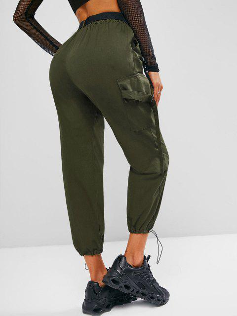 hot Toggle Drawstring Push-buckled Belted Cargo Pants - ARMY GREEN L Mobile