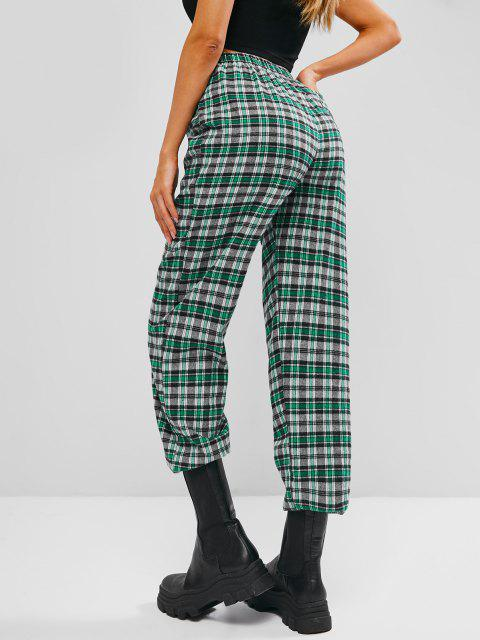buy Pocket High Waisted Plaid Tartan Pants - LIGHT GREEN S Mobile