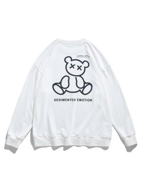Reflective Bear Graphic Drop Shoulder Lounge Sweatshirt - أبيض XL Mobile
