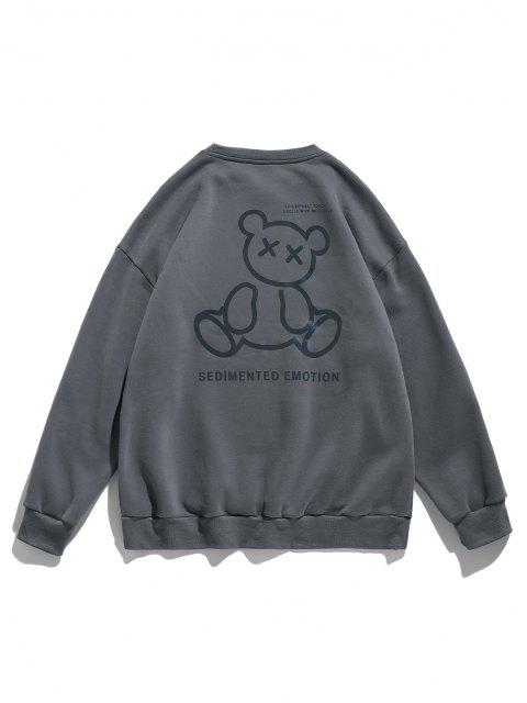 hot Reflective Bear Graphic Drop Shoulder Lounge Sweatshirt - DARK GRAY L Mobile