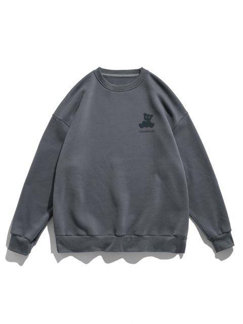 Sweat-shirtDécontractéGraphique Ours Réfléchissant à Goutte Epaule - Gris Foncé 2XL Mobile
