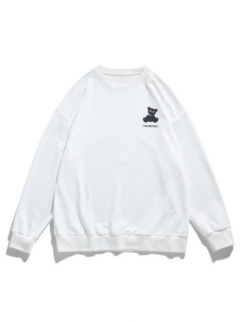 women's Reflective Bear Graphic Drop Shoulder Lounge Sweatshirt - WHITE M Mobile