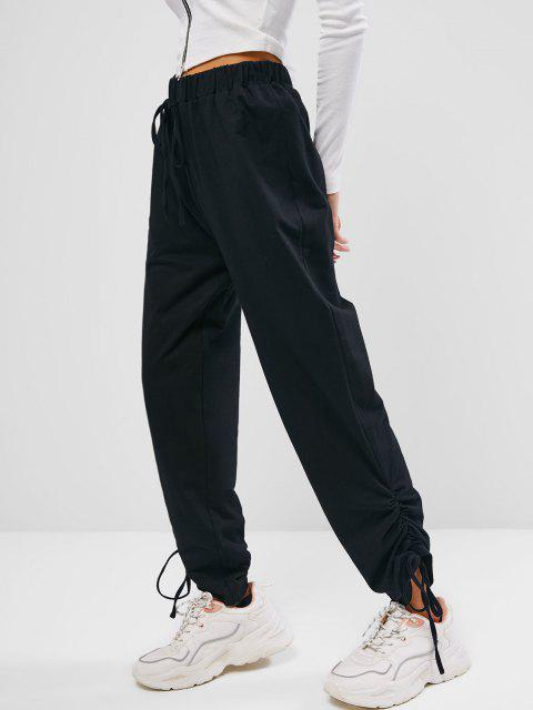 women's ZAFUL Cinched High Waisted Bowknot Pants - BLACK L Mobile