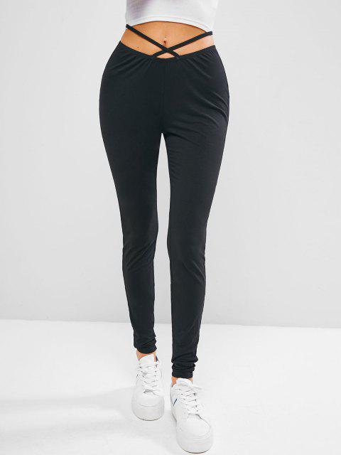 women's ZAFUL Criss Cross Plain Skinny Leggings - BLACK L Mobile