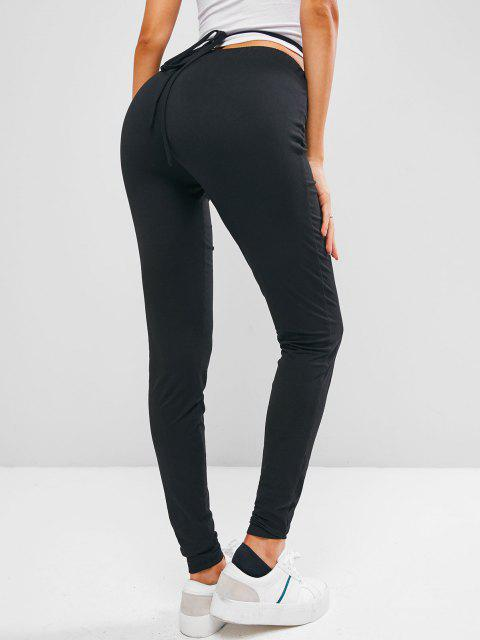 ladies ZAFUL Criss Cross Plain Skinny Leggings - BLACK S Mobile