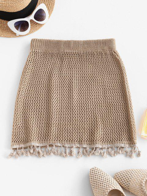 online Tassels Crochet Beach Skirt - SAND ONE SIZE Mobile