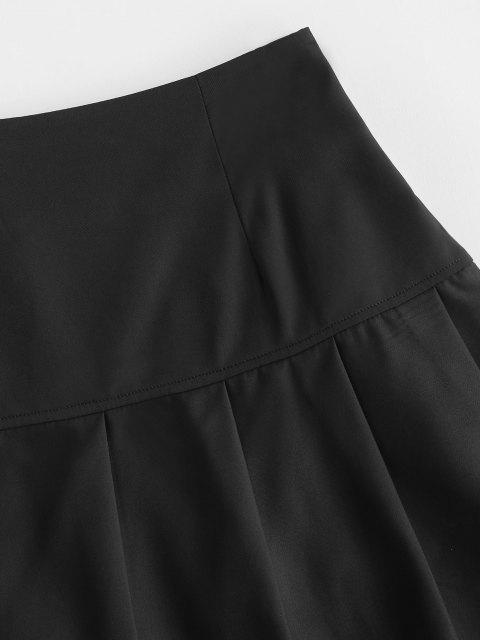 hot Side Zipper Solid Pleated Mini Skirt - BLACK S Mobile