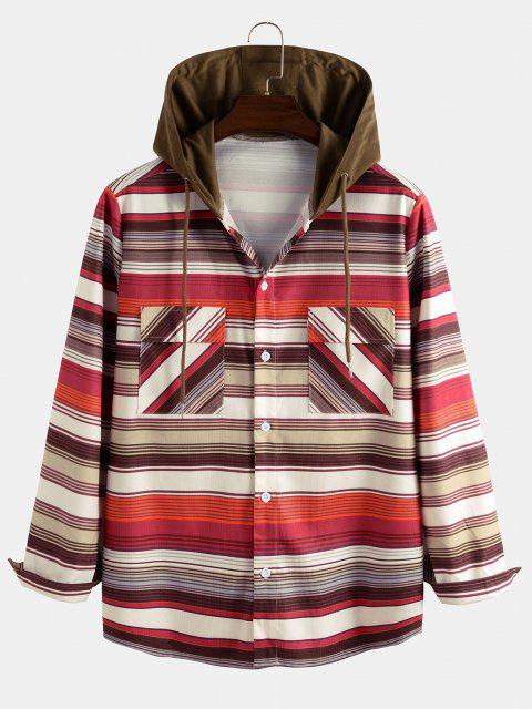 ladies Hooded Striped Pattern Pocket Button Up Shirt Jacket - MULTI 2XL Mobile
