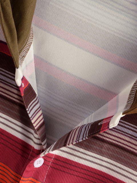 online Hooded Striped Pattern Pocket Button Up Shirt Jacket - MULTI S Mobile