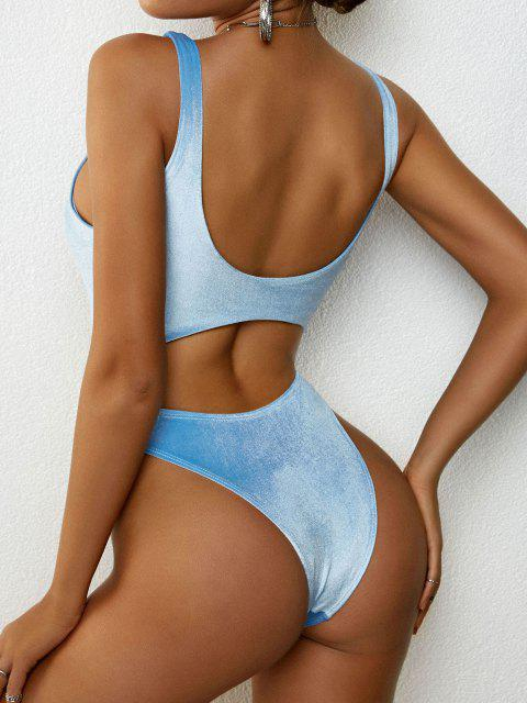 latest ZAFUL Cinched Velvet Cut Out One-piece Swimsuit - LIGHT BLUE S Mobile