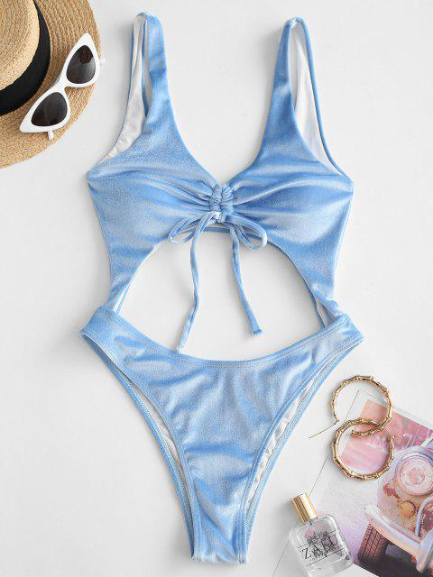 chic ZAFUL Cinched Velvet Cut Out One-piece Swimsuit - LIGHT BLUE XL Mobile