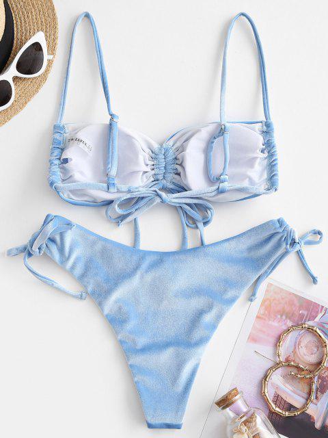 sale ZAFUL Cinched Velvet Tie Side Bikini Swimwear - LIGHT BLUE L Mobile