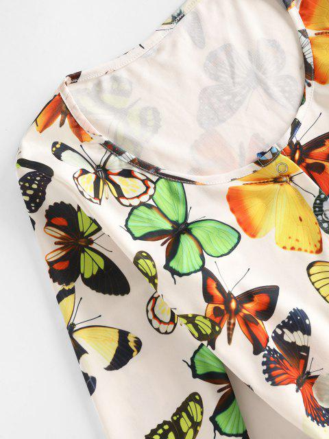 women's Snap Button Butterfly Print Pajamas Romper - WHITE M Mobile