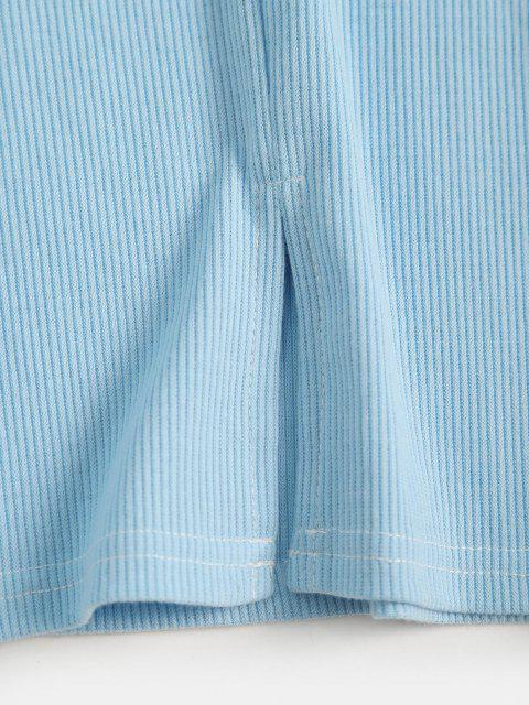 latest Button Loop Ribbed Slit Three Piece Dress - SKY BLUE L Mobile
