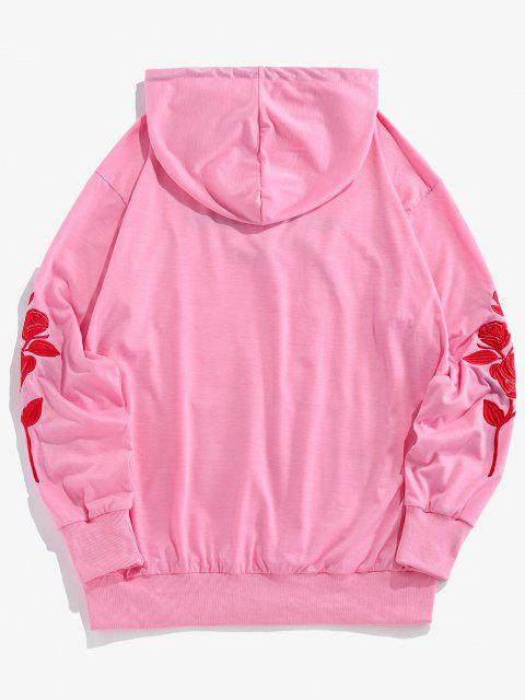 online ZAFUL Rose Almost Dead Embroidery Hoodie - PINK M Mobile