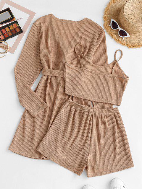 lady Ribbed Knit Cami Pajama Set with Robe - LIGHT COFFEE M Mobile