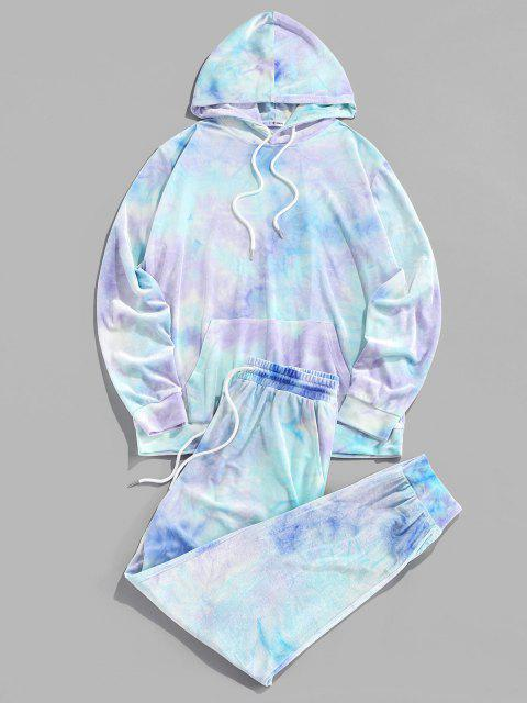 ladies ZAFUL Tie Dye Print Hoodie and Pants Two Piece Set - TRON BLUE S Mobile