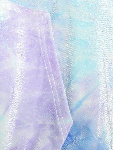 ZAFUL Conjunto de Duas Peças com Estampa e Gravata - Tron Azul M Mobile