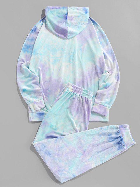 new ZAFUL Tie Dye Print Hoodie and Pants Two Piece Set - TRON BLUE 2XL Mobile