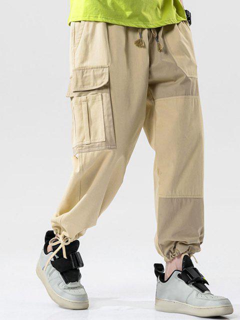 hot Colorblock Panel Drawstring Cuff Cargo Pants - KHAKI 2XL Mobile