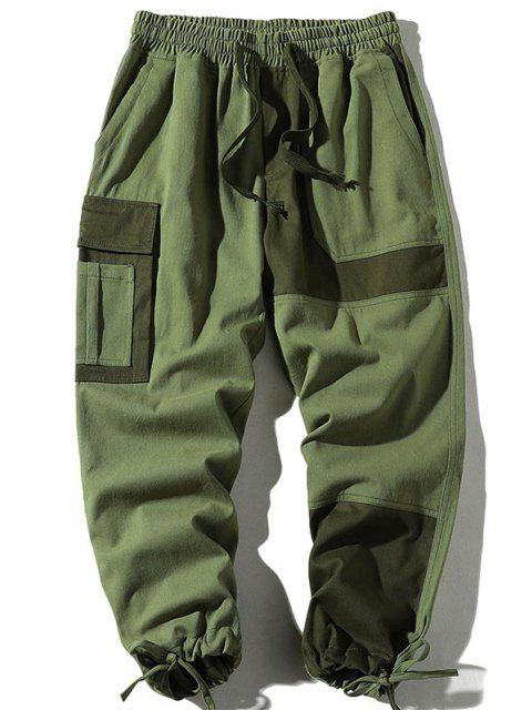 ladies Colorblock Panel Drawstring Cuff Cargo Pants - ARMY GREEN L Mobile