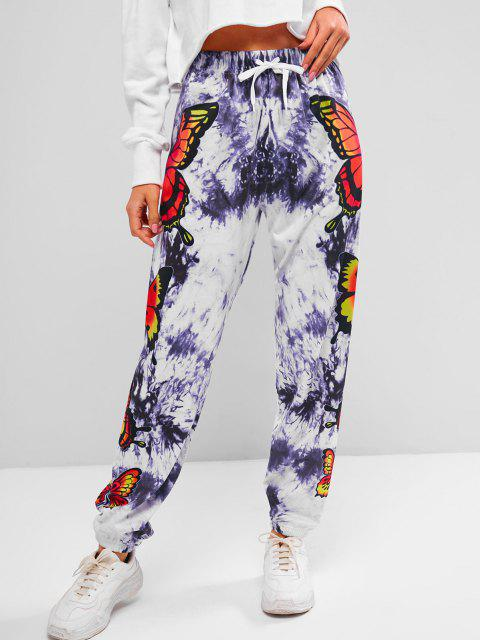 ladies ZAFUL Tie Dye Butterfly Print Jogger Pants - MULTI S Mobile