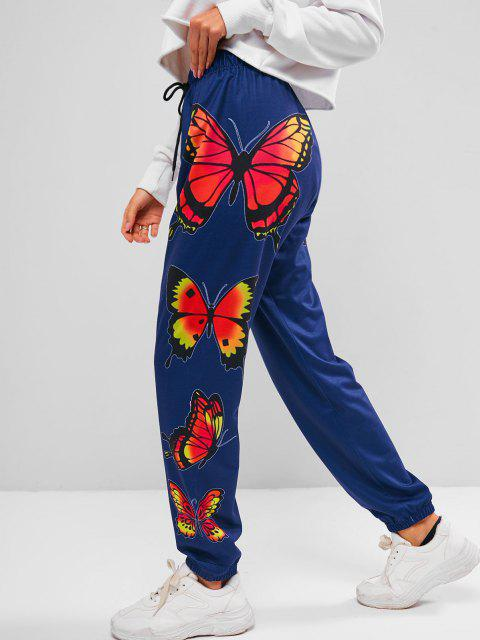 trendy ZAFUL Drawstring Butterfly Print  Jogger Pants - DEEP BLUE M Mobile