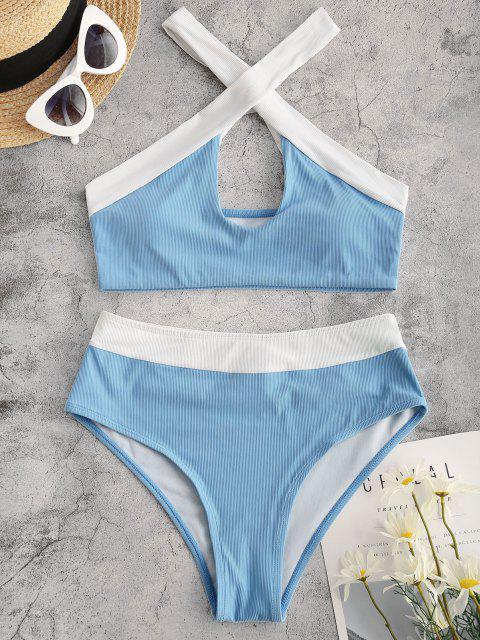 ZAFUL Maillot de Bain Bikini Côtelé Croisé Bicolore - Bleu clair S Mobile